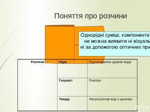 Поняття про розчини Однорідні суміші, компоненти яких не можна виявити ні візуал