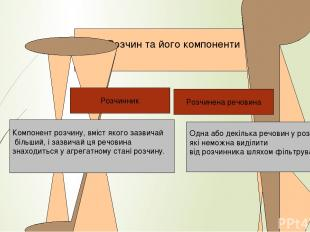 йонний Розчин та його компоненти Одна або декілька речовин у розчині, які неможн