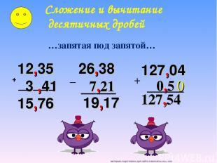 + 12,35 3 ,41 15,76 26,38 7,21 19,17 Сложение и вычитание десятичных дробей …зап