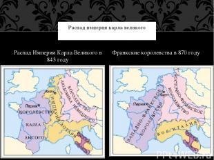 Распад Империи Карла Великого в 843 году Франкские королевства в 870 году Распад