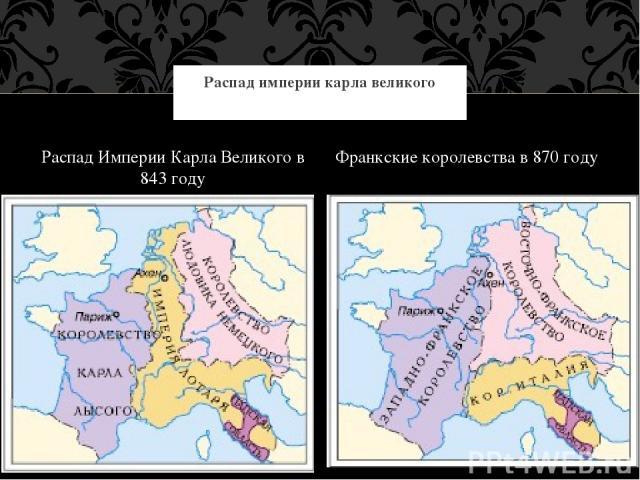 Распад Империи Карла Великого в 843 году Франкские королевства в 870 году Распад империи карла великого