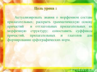 Актуализировать знания о морфемном составе прилагательных; раскрыть грамматическ