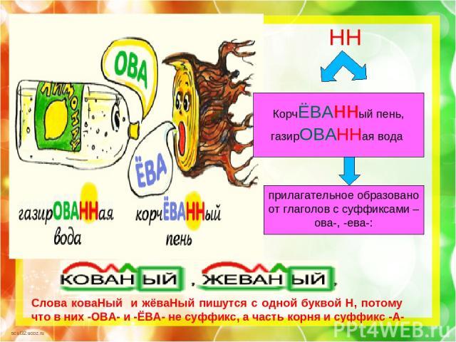 Слова коваНый и жёваНый пишутся с одной буквой Н, потому что в них -ОВА- и -ЁВА- не суффикс, а часть корня и суффикс -А- Н НН КорчЁВАнный пень, газирОВАННая вода прилагательное образовано от глаголов с суффиксами –ова-, -ева-: scul32.ucoz.ru