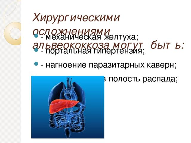 Хирургическими осложнениями альвеококкоза могут быть: - механическая желтуха; - портальная гипертензия; - нагноение паразитарных каверн; - кровотечение в полость распада;