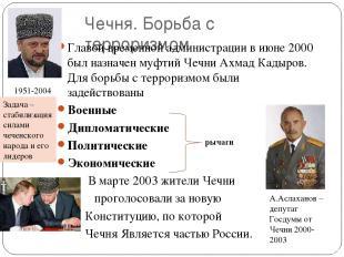 Чечня. Борьба с терроризмом Главой временной администрации в июне 2000 был назна