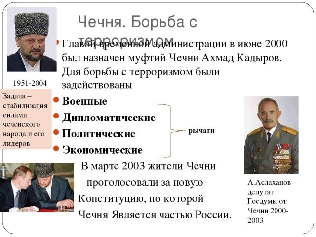 Чечня. Борьба с терроризмом Главой временной администрации в июне 2000 был назначен муфтий Чечни Ахмад Кадыров. Для борьбы с терроризмом были задействованы Военные Дипломатические Политические Экономические В марте 2003 жители Чечни проголосовали за…