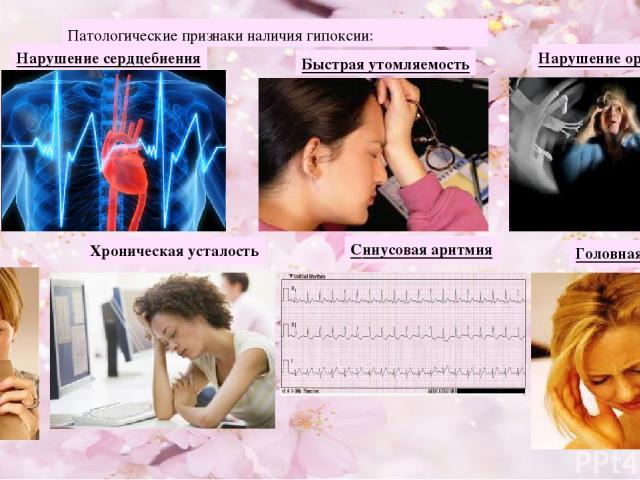 Патологические признаки наличия гипоксии: Хроническая усталость Головная боль Нарушение сердцебиения Быстрая утомляемость Рвота Синусовая аритмия Нарушение ориентации