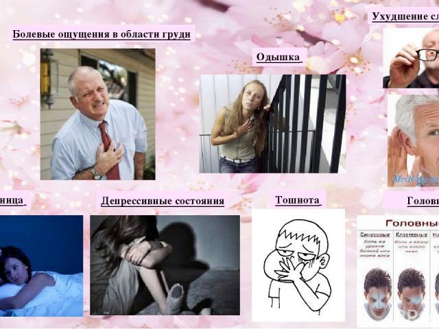 Болевые ощущения в области груди Ухудшение слуха и зрения Одышка Бессонница Депрессивные состояния Тошнота Головная боль