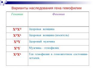 ования гена гемофилии: Варианты наследования гена гемофилии Генотип Фенотип XHXH