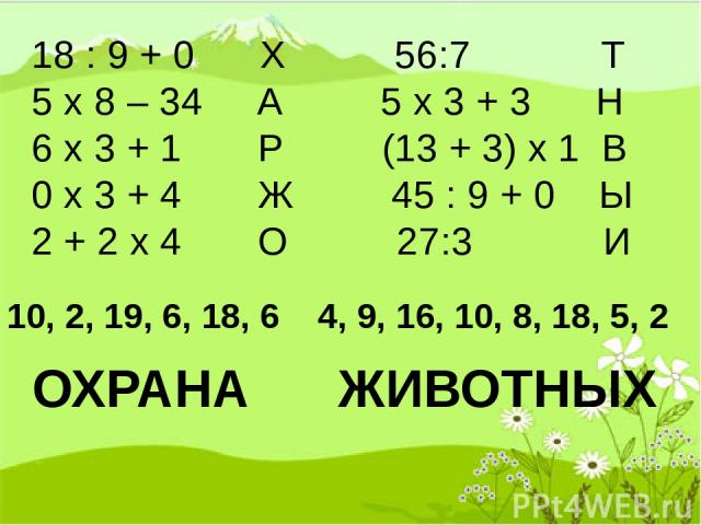 18 : 9 + 0 Х 56:7 Т 5 х 8 – 34 А 5 х 3 + 3 Н 6 х 3 + 1 Р (13 + 3) х 1 В 0 х 3 + 4 Ж 45 : 9 + 0 Ы 2 + 2 х 4 О 27:3 И 10, 2, 19, 6, 18, 6 4, 9, 16, 10, 8, 18, 5, 2 ОХРАНА ЖИВОТНЫХ