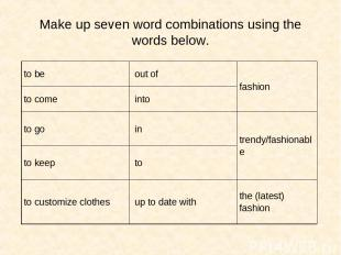 Make up seven word combinations using the words below. to be out of fashion to c