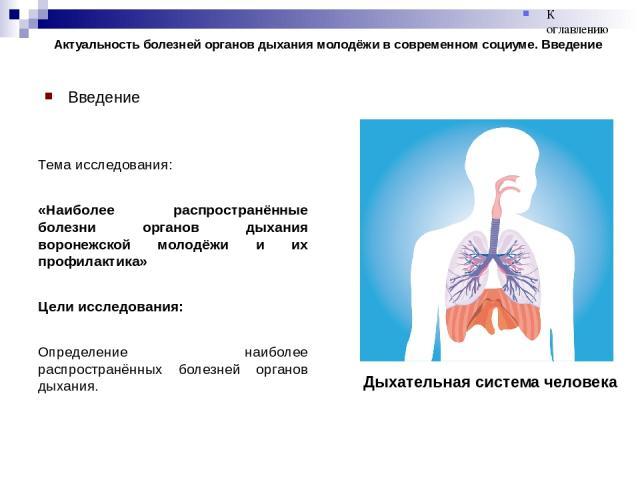 Актуальность болезней органов дыхания молодёжи в современном социуме. Введение Введение Тема исследования: «Наиболее распространённые болезни органов дыхания воронежской молодёжи и их профилактика» Цели исследования: Определение наиболее распростран…