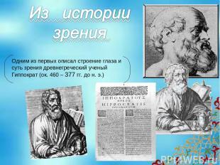 Одним из первых описал строение глаза и суть зрения древнегреческий ученый Гиппо
