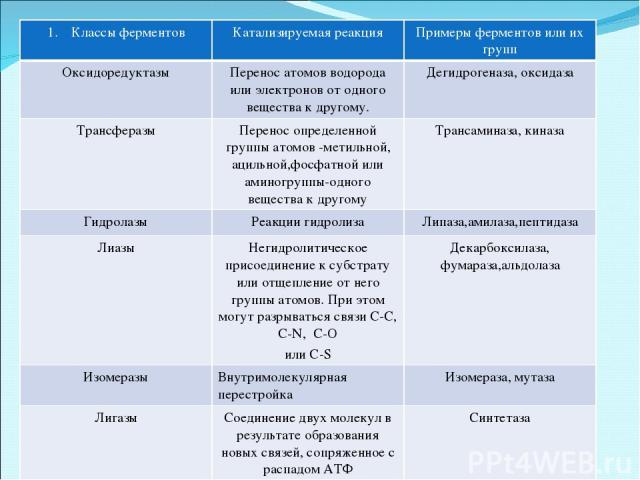 Классы ферментов Катализируемая реакция Примеры ферментов или их групп Оксидоредуктазы Перенос атомов водорода или электронов от одного вещества к другому. Дегидрогеназа, оксидаза Трансферазы Перенос определенной группы атомов -метильной, ацильной,ф…