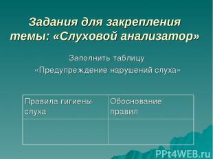 Задания для закрепления темы: «Слуховой анализатор» Заполнить таблицу «Предупреж