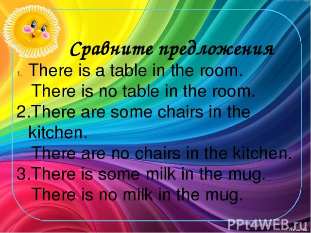 Сравните предложения There is a table in the room. There is no table in the room. 2.There are some chairs in the kitchen. There are no chairs in the kitchen. 3.There is some milk in the mug. There is no milk in the mug.