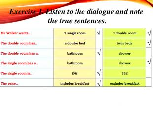 Exercise 1. Listen to the dialogue and note the true sentences. √ √ √ √ √ √ √