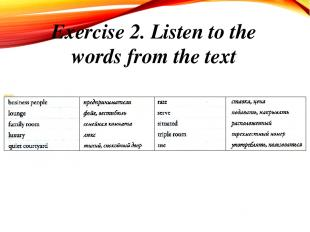 Exercise 2. Listen to the words from the text