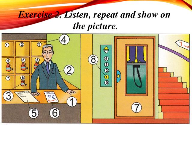 Exercise 2. Listen, repeat and show on the picture.