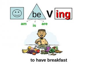 V ing to have breakfast am is are