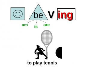 V ing to play tennis am is are