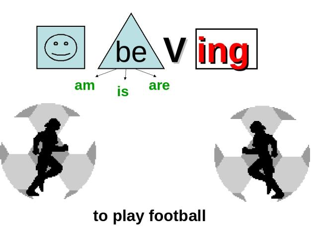 V ing to play football am is are