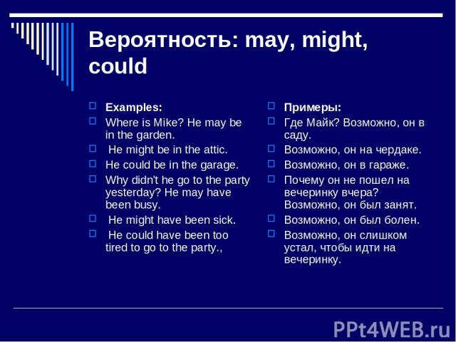 Вероятность: may, might, could Examples: Where is Mike? He may be in the garden. He might be in the attic. He could be in the garage. Why didn't he go to the party yesterday? He may have been busy. He might have been sick. He could have been too tir…