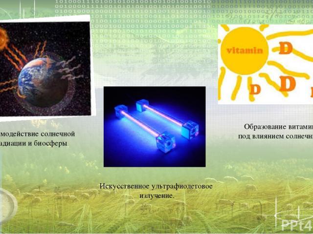 Взаимодействие солнечной радиации и биосферы Образование витамина «Д» под влиянием солнечных лучей Искусственное ультрафиолетовое излучение.