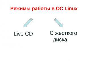 Режимы работы в ОС Linux Live CD С жесткого диска
