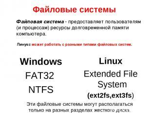 Файловые системы Windows FAT32 NTFS Linux Extended File System (ext2fs,ext3fs) Э
