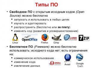 Типы ПО Свободное ПО с открытым исходным кодом (Open Source): можно бесплатно за