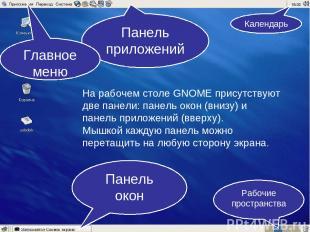На рабочем столе GNOME присутствуют две панели: панель окон (внизу) и панель при