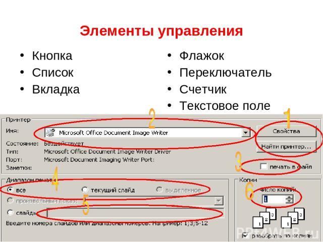 Элементы управления Кнопка Список Вкладка Флажок Переключатель Счетчик Текстовое поле