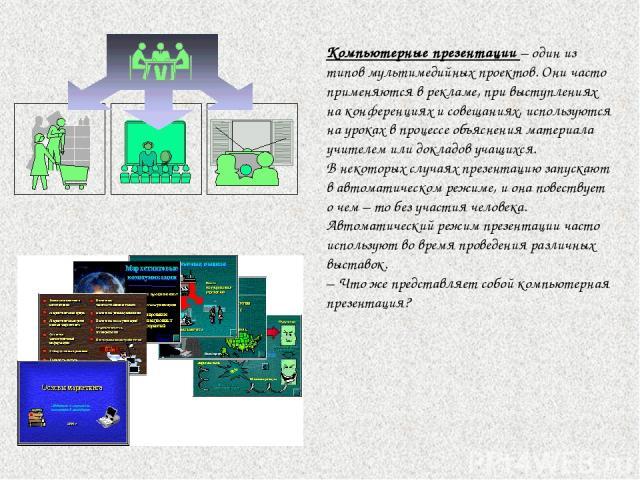 Компьютерные презентации – один из типов мультимедийных проектов. Они часто применяются в рекламе, при выступлениях на конференциях и совещаниях, используются на уроках в процессе объяснения материала учителем или докладов учащихся. В некоторых случ…