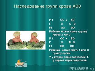 Наследование групп крови AB0 Р 1 ♂ ОО x ♀ АВ Г О А В F1 АО ВО Ребенок может имет