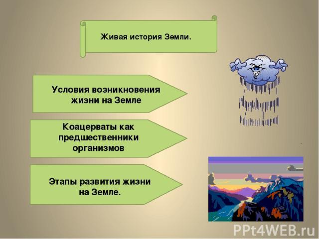 Живая история Земли. Условия возникновения жизни на Земле Коацерваты как предшественники организмов Этапы развития жизни на Земле.