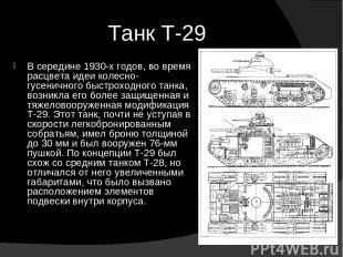 Танк Т-29 В середине 1930-х годов, во время расцвета идеи колесно-гусеничного бы