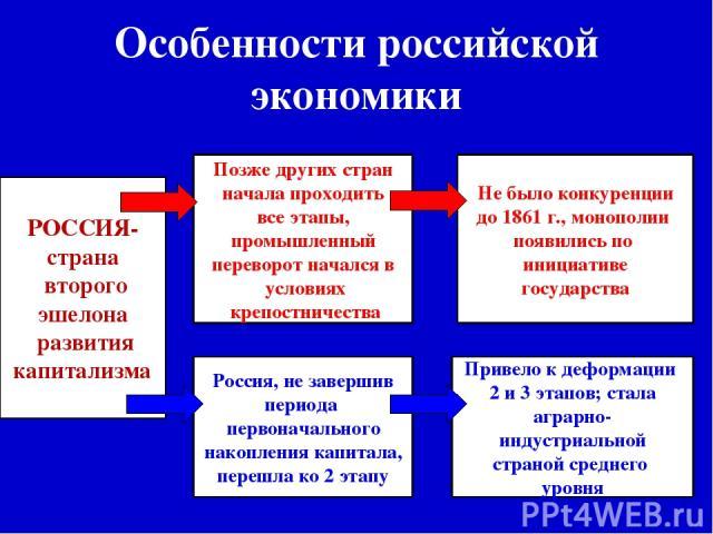 Особенности российской экономики РОССИЯ- страна второго эшелона развития капитализма Позже других стран начала проходить все этапы, промышленный переворот начался в условиях крепостничества Россия, не завершив периода первоначального накопления капи…