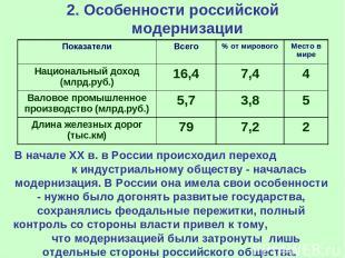 2. Особенности российской модернизации В начале ХХ в. в России происходил перехо