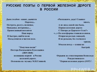 РУССКИЕ ПОЭТЫ О ПЕРВОЙ ЖЕЛЕЗНОЙ ДОРОГЕ В РОССИИ Дым столбом - кипит, дымится