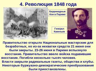 4. Революция 1848 года Правительство открыло Национальные мастерские для безрабо