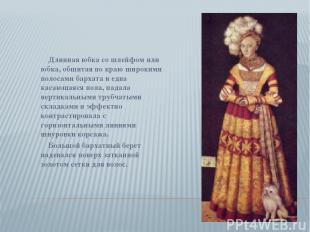 Длинная юбка со шлейфом или юбка, обшитая по краю широкими полосами бархата и ед