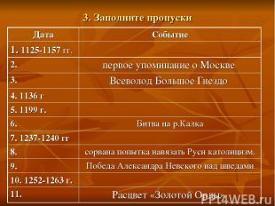 3. Заполните пропуски Дата Событие 1. 1125-1157 гг. 2. первое упоминание о Москв