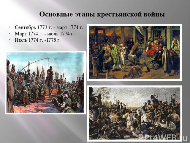 Основные этапы крестьянской войны Сентябрь 1773 г.- март 1774 г. Март 1774 г. - июль 1774 г. Июль 1774 г. -1775 г.