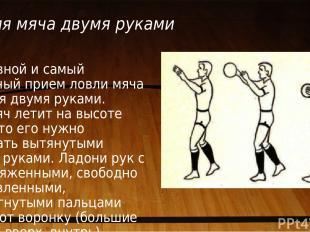 Ловля мяча двумя руками Основной и самый надежный прием ловли мяча — ловля двумя