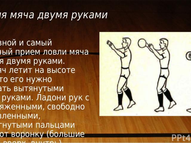 Ловля мяча двумя руками Основной и самый надежный прием ловли мяча — ловля двумя руками. Если мяч летит на высоте груди, то его нужно встречать вытянутыми вперед руками. Ладони рук с ненапряженными, свободно расставленными, полусогнутыми пальцами об…