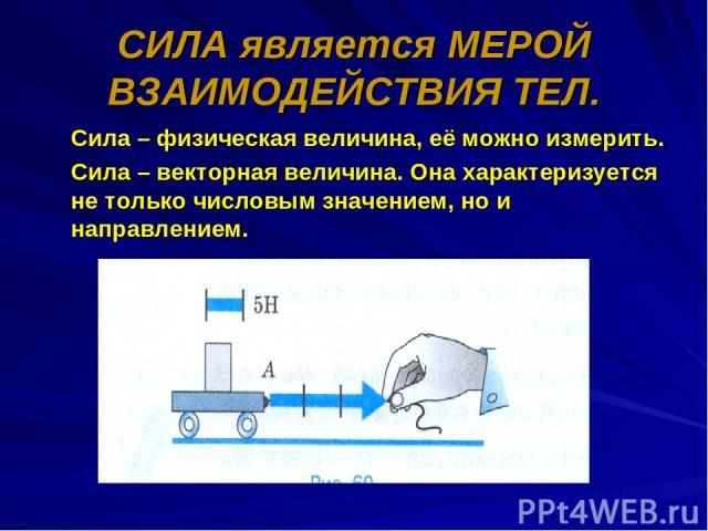 СИЛА является МЕРОЙ ВЗАИМОДЕЙСТВИЯ ТЕЛ. Сила – физическая величина, её можно измерить. Сила – векторная величина. Она характеризуется не только числовым значением, но и направлением.