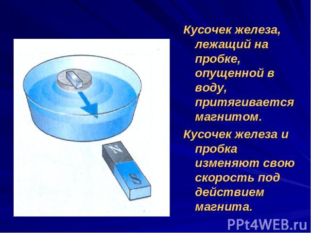 Кусочек железа, лежащий на пробке, опущенной в воду, притягивается магнитом. Кусочек железа и пробка изменяют свою скорость под действием магнита.