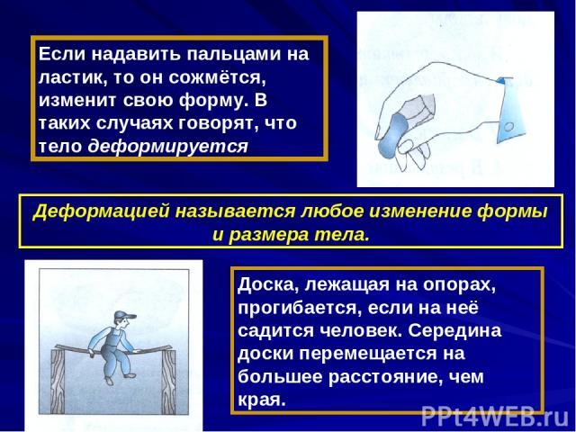 Если надавить пальцами на ластик, то он сожмётся, изменит свою форму. В таких случаях говорят, что тело деформируется Деформацией называется любое изменение формы и размера тела. Доска, лежащая на опорах, прогибается, если на неё садится человек. Се…