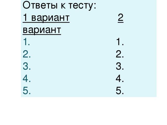 Ответы к тесту: 1 вариант 2 вариант 1. 2. 3. 4. 5.